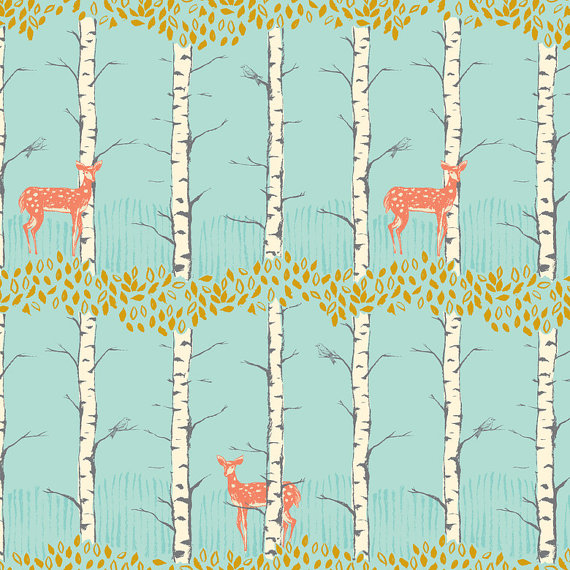Fawn in Birch Blue/Timber and Leaf by Sarah Watts